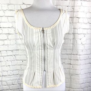Nine West Sleeveless Stripe Corset Silk Top